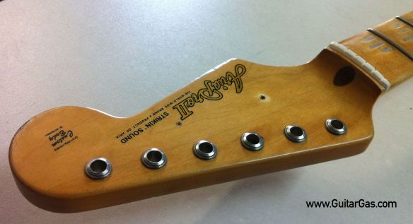 Aria Pro II Strikin Sounds Relic Project Headstock Top Edge