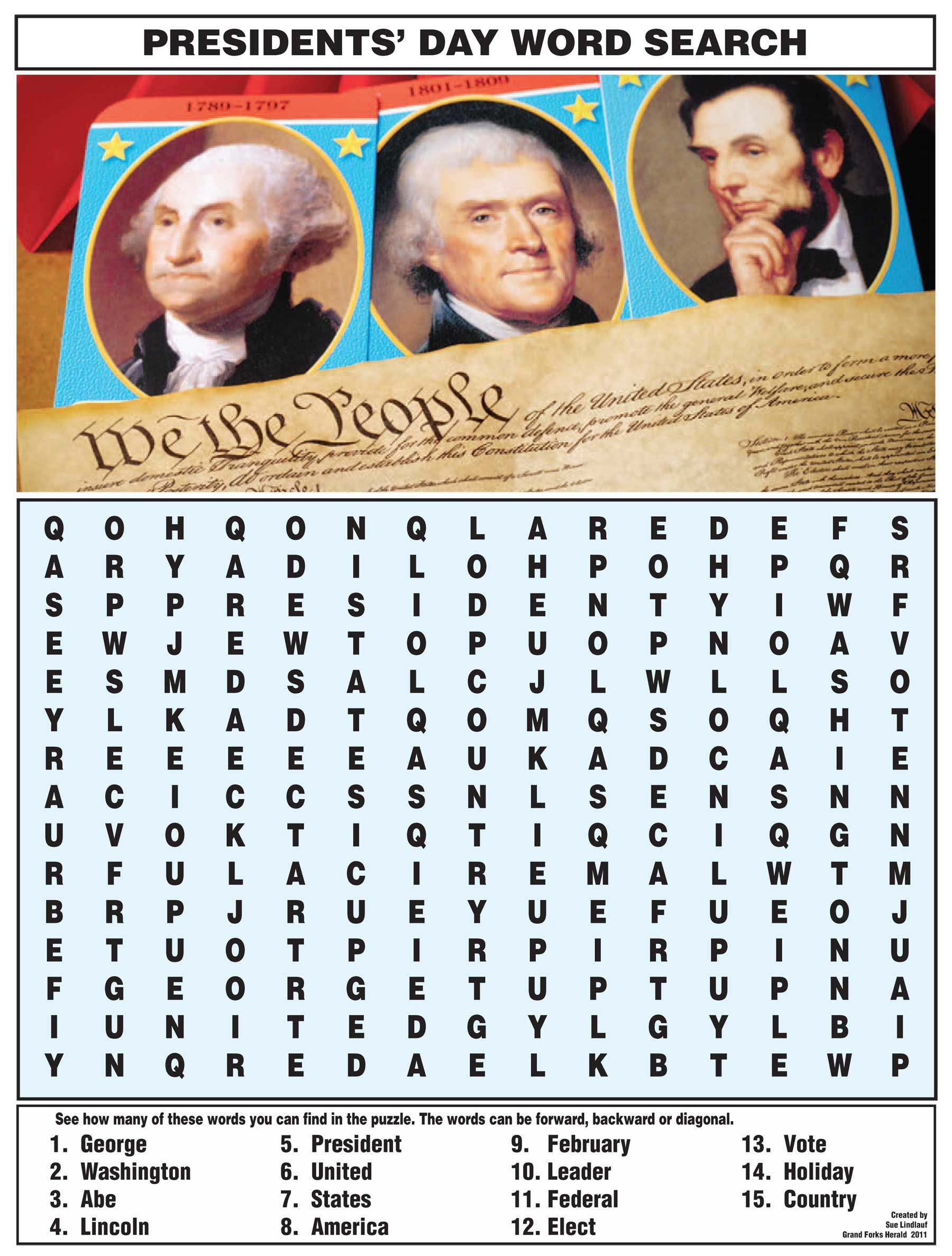 Presidents Day Word Search From Nie Rocks