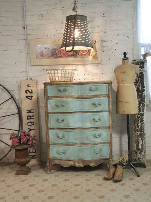 The Painted Cottage Chic Shabby Aqua French Dresser Furniture Vintage Finds Farmhouse Originals Lighting Home Decor