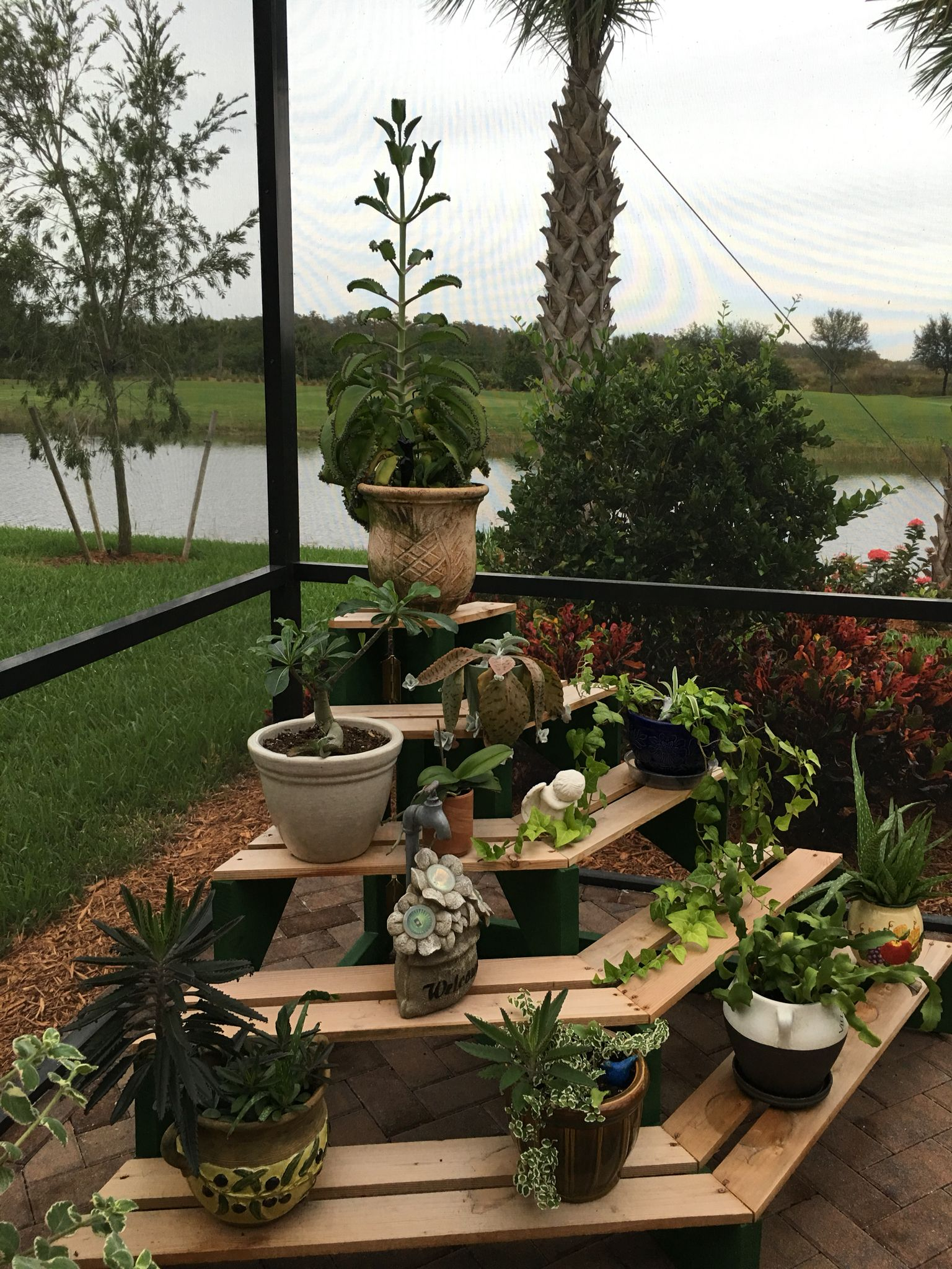 DIY 4 tiered wooden outdoor plant stand display. | My ... on Amazing Plant Stand Ideas  id=13176