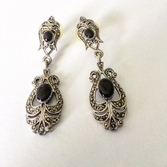 Vintage Black Onyx Sparkling Marcasite Chandelier Earrings 2 In Length And Absolutely Charming