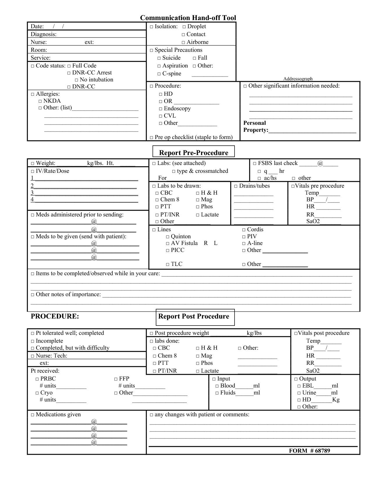 Nursing Report Template