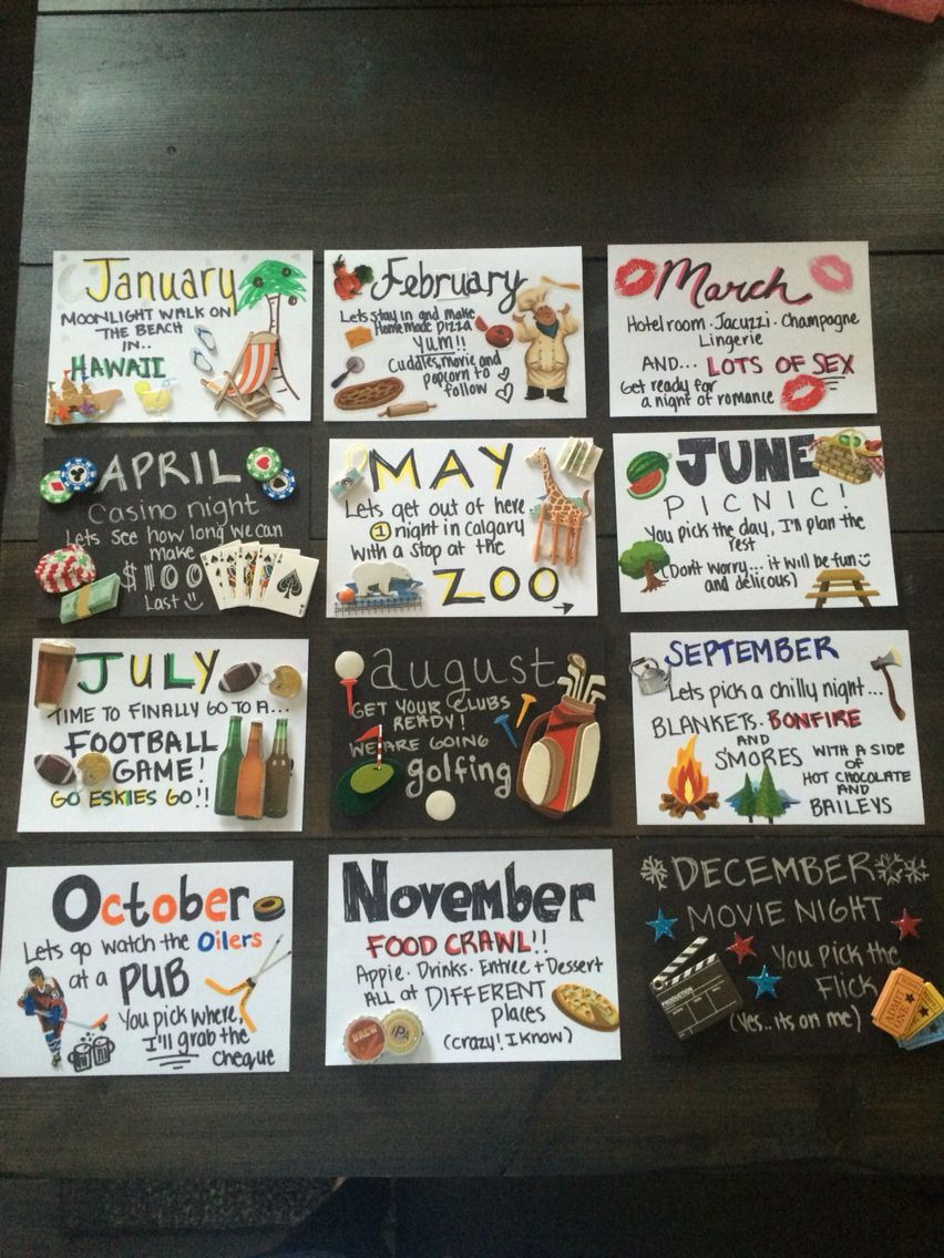 12 months of dates great for anniversary or birthday gift