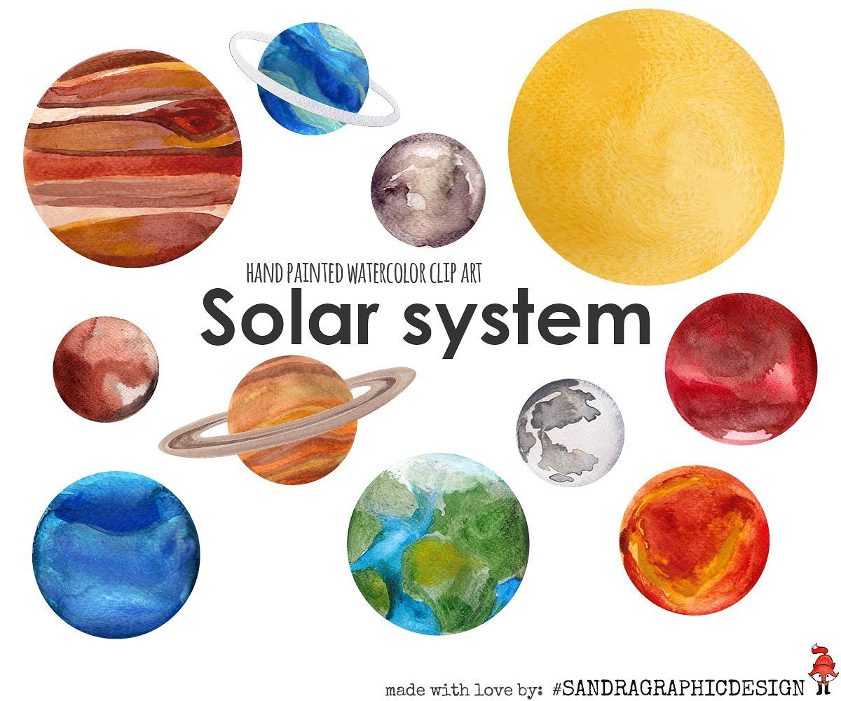 Solar System Watercolor Clip Art By Sandragraphicdesign On