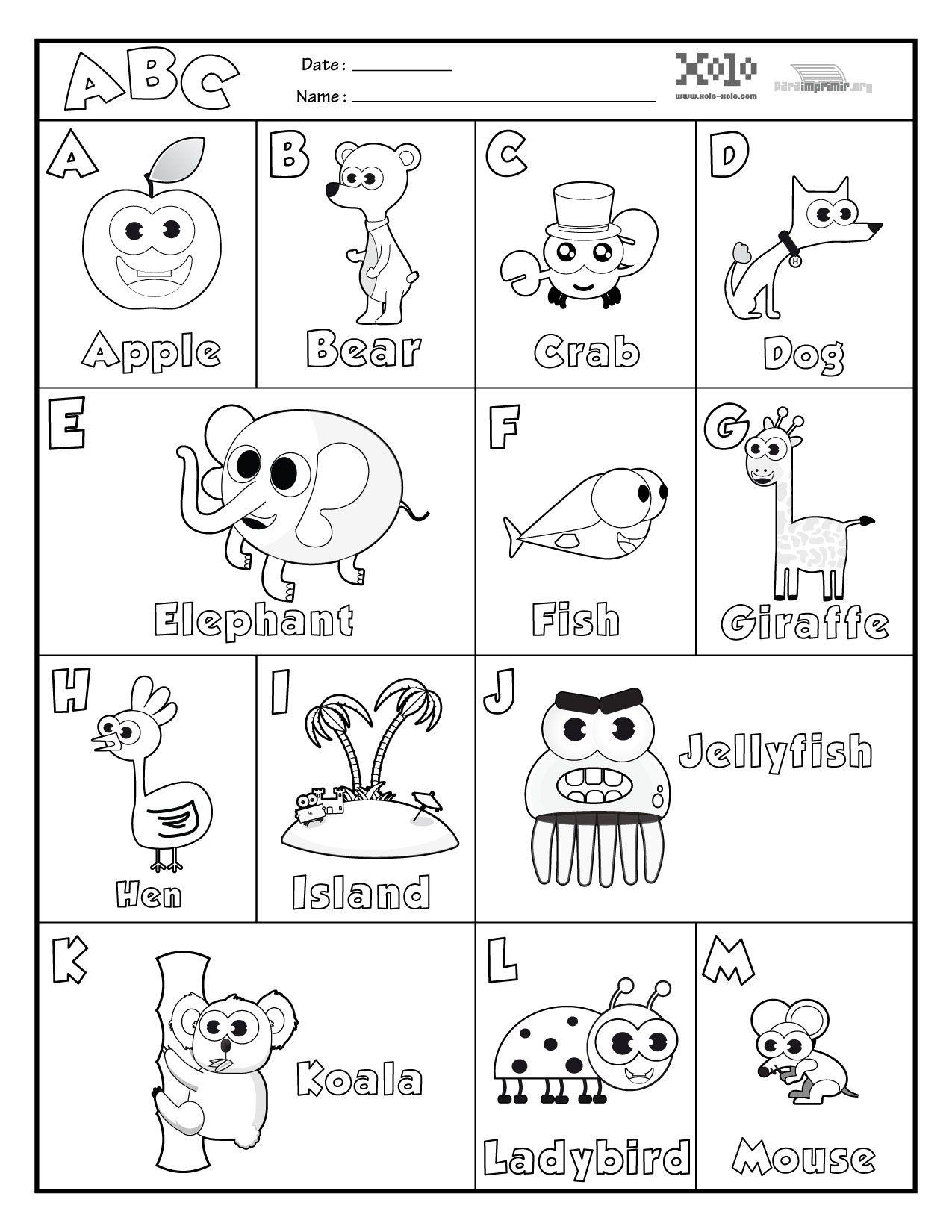 Abecedario En Ingles Para Colorear Y Para Imprimir