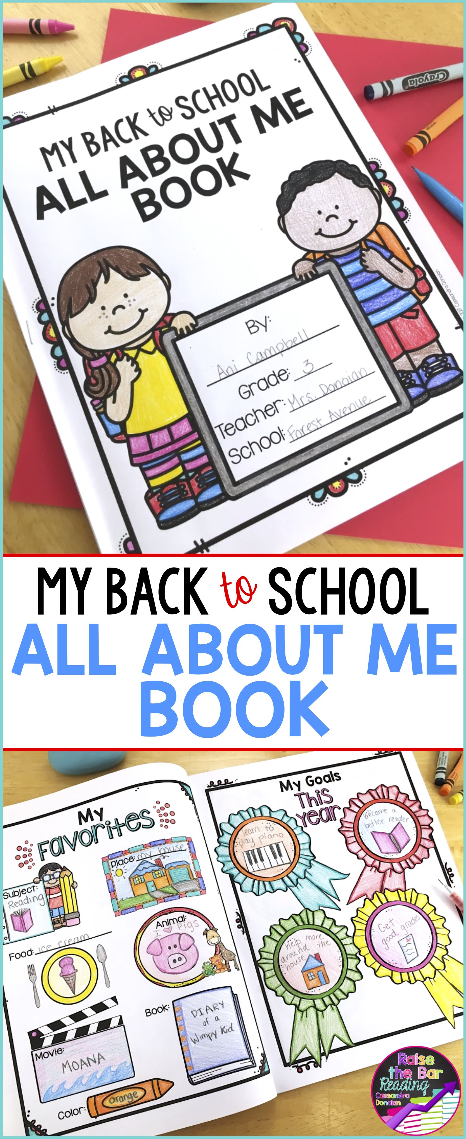 Back To School All About Me Book With Free Writing And