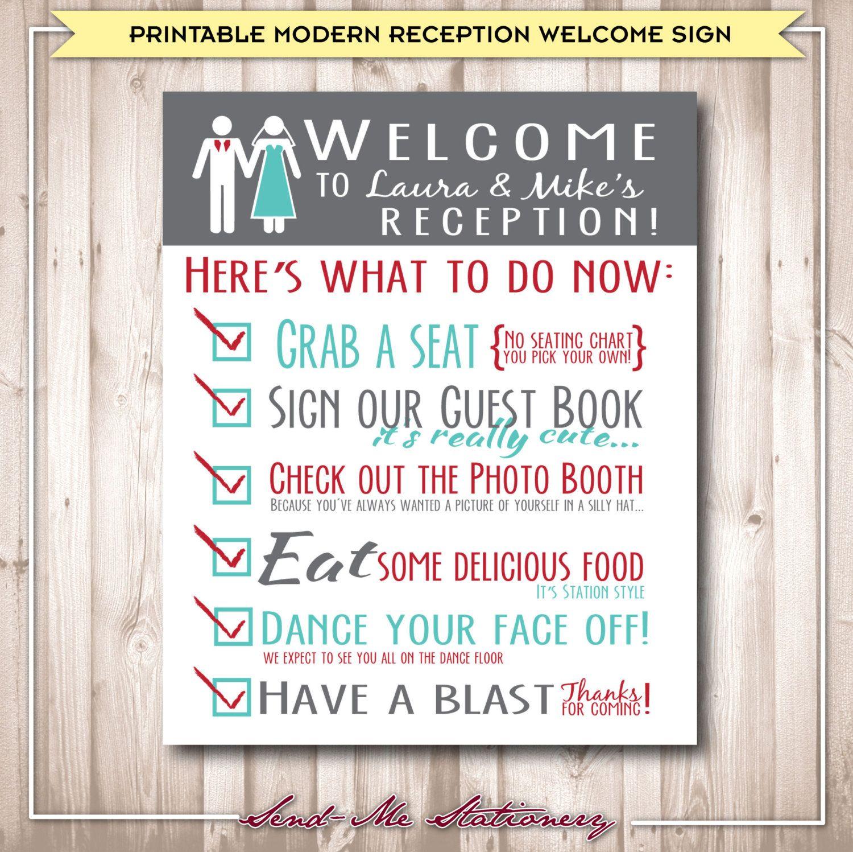 Printable Modern Rustic Wedding Reception By