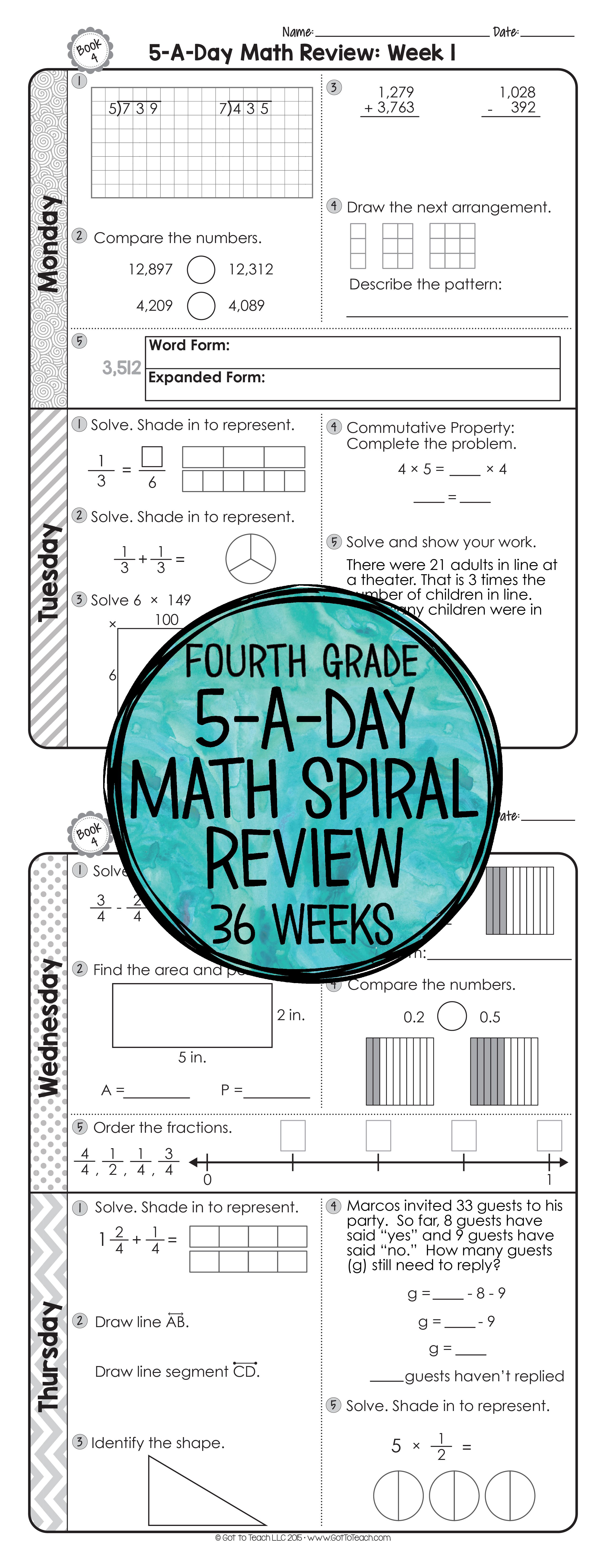 4th Grade Daily Math Spiral Review Morning Work