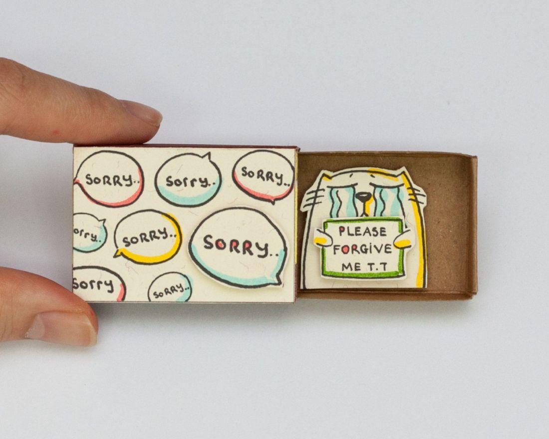 Cat sorry card matchbox gretting card gift box