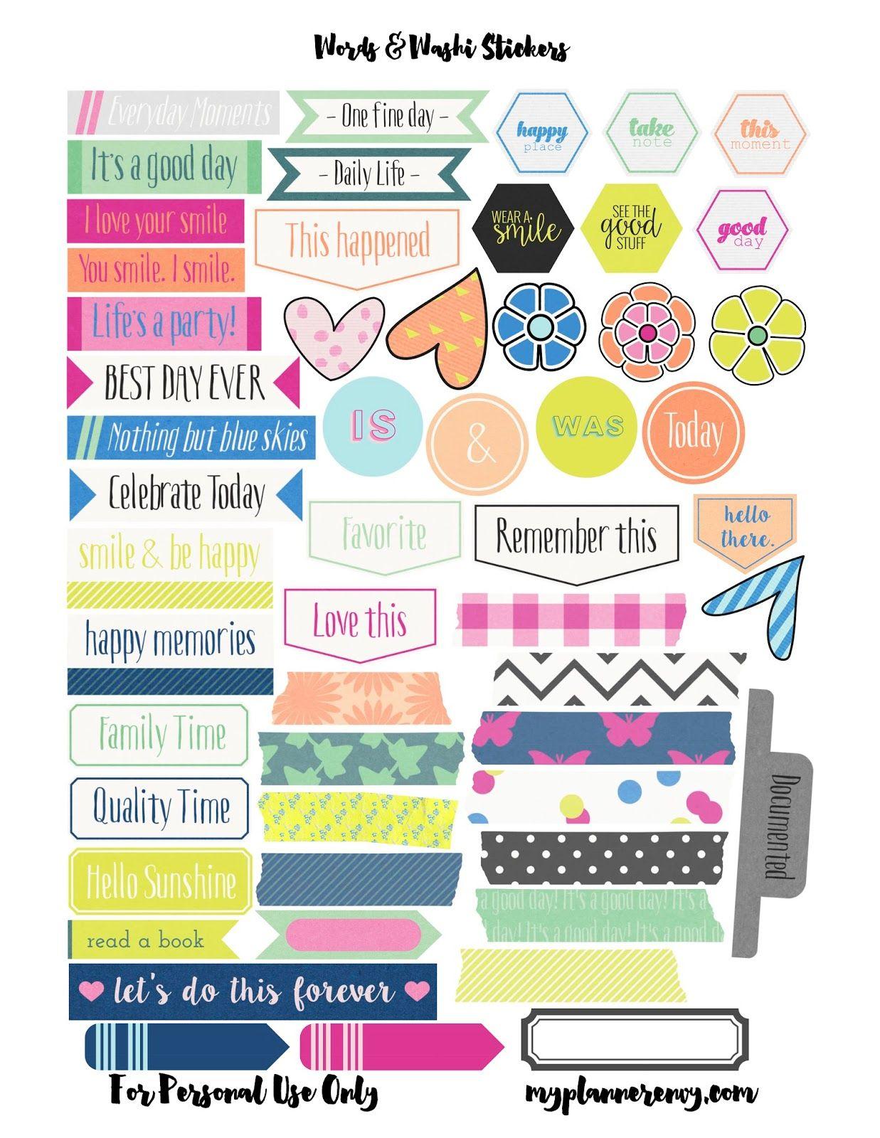 My Planner Envy Patterned Checklist Squares Amp Bonus Words Washi Label Printable