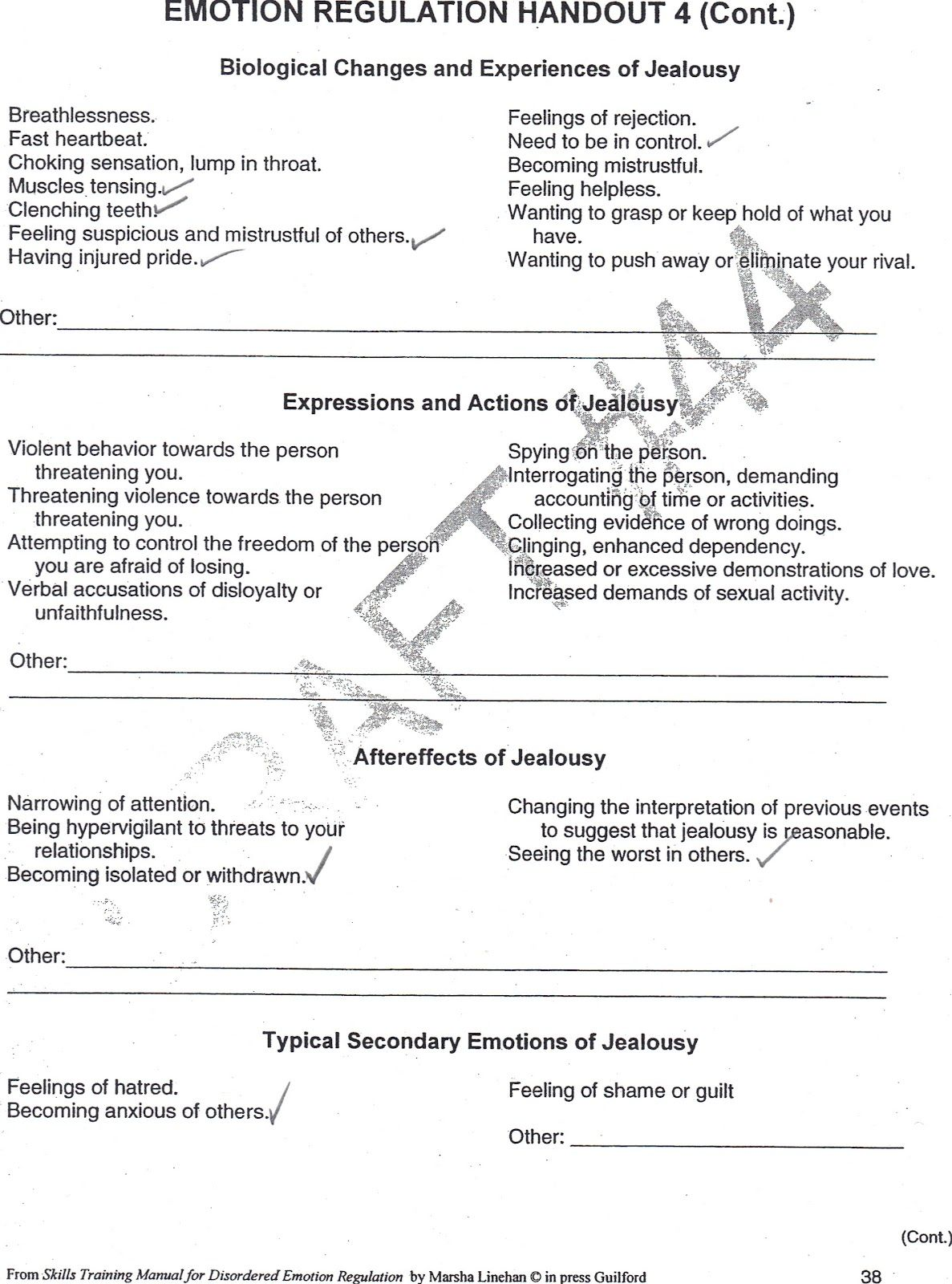 Jealousy Worksheet