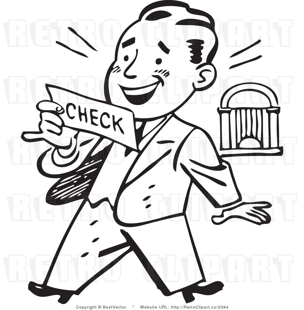 Retro Clip Art Of An Excited Businessman Looking At His