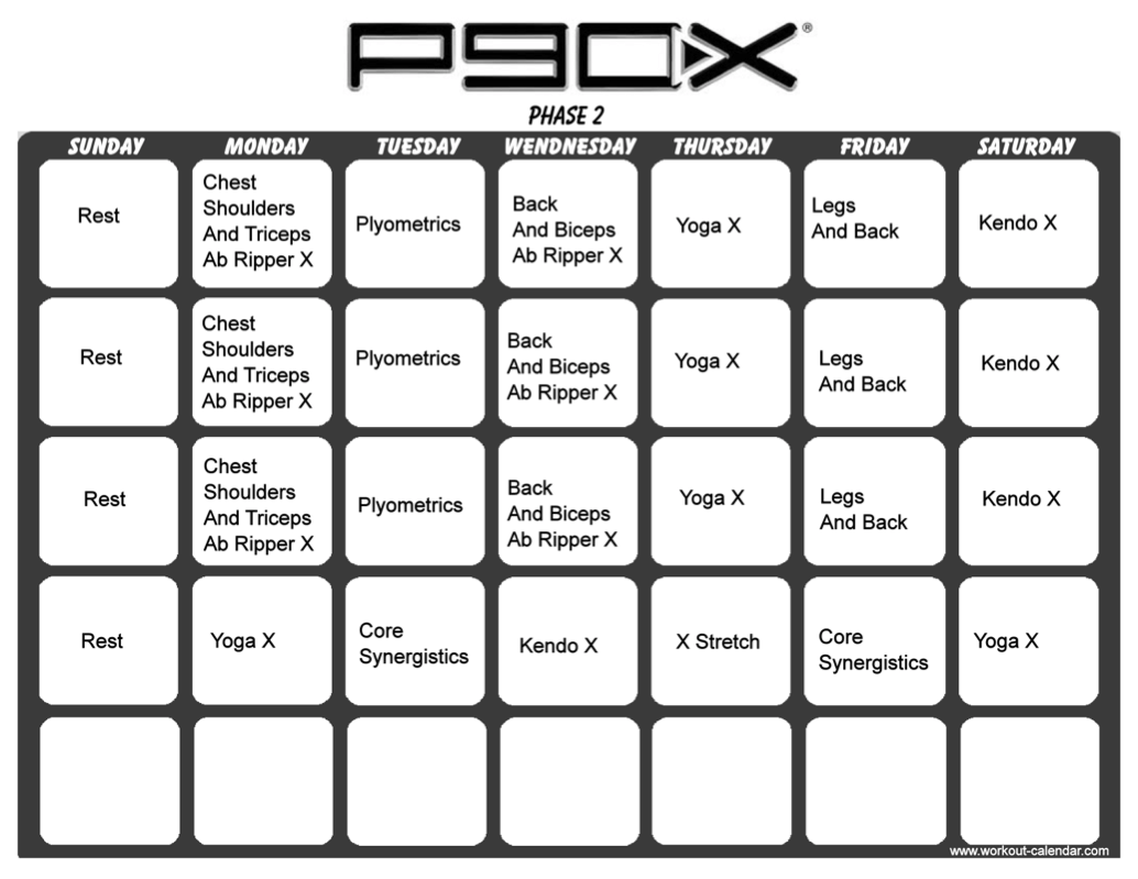 Housewife 2 Hostess P90x Workout Schedule
