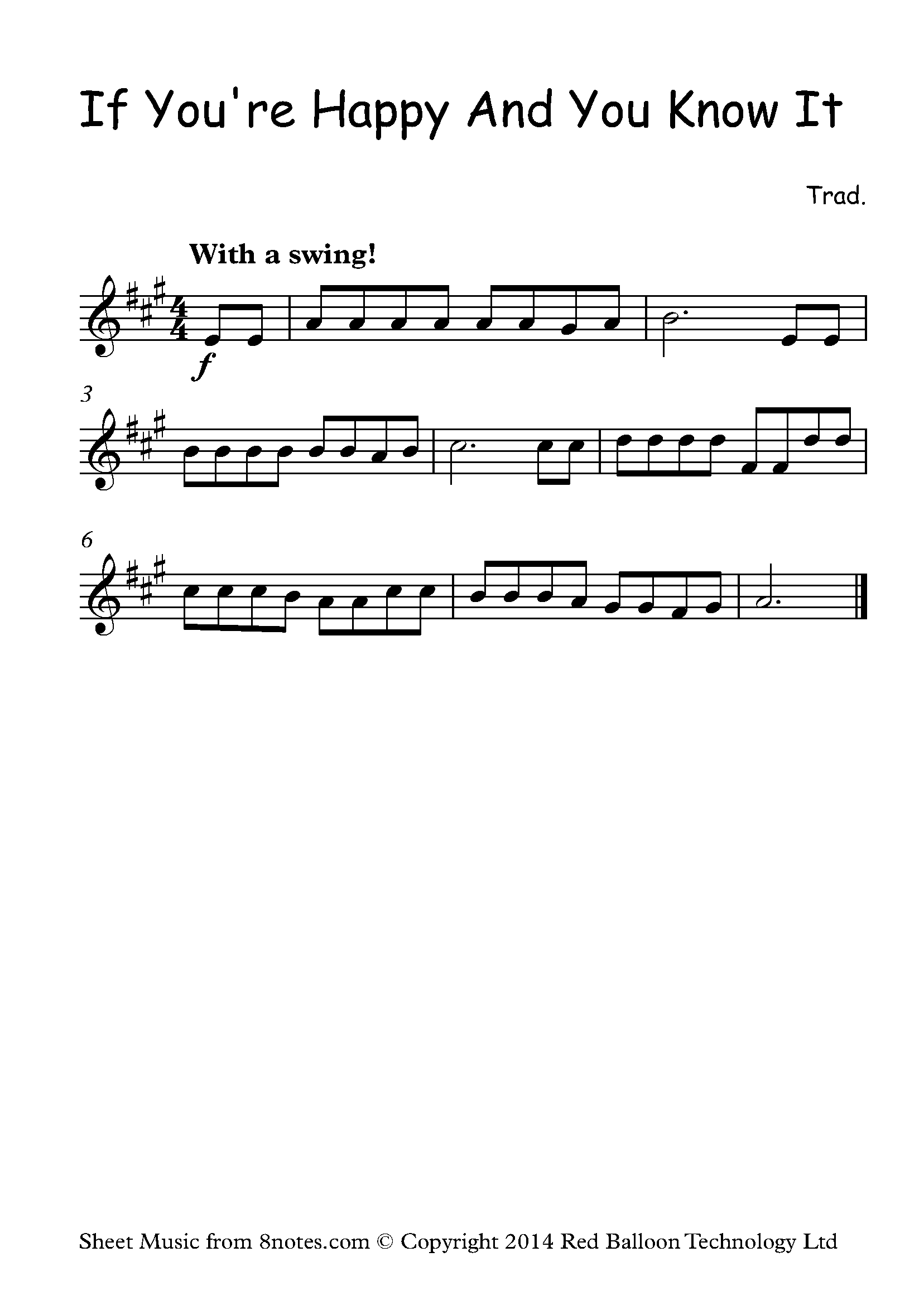 If You Re Happy And You Know It Sheet Music For Violin