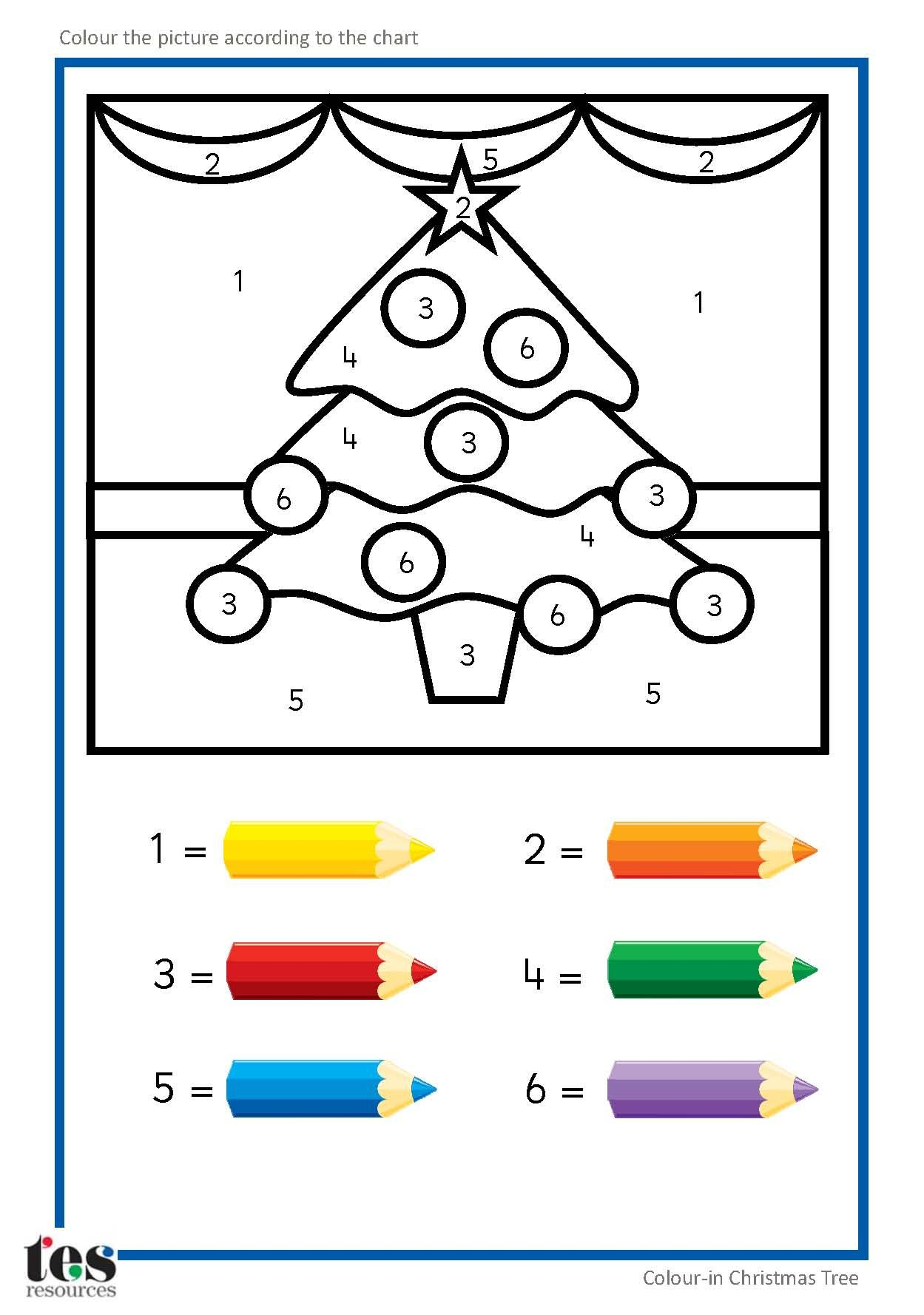 Simple Colour By Numbers Christmas Pictures With Clear