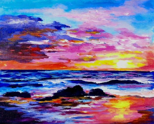 Learn To Paint A Sunset And Ocean Full Acrylic Lesson Coloroftheyearart Painting Lessonsacrylic Landscape