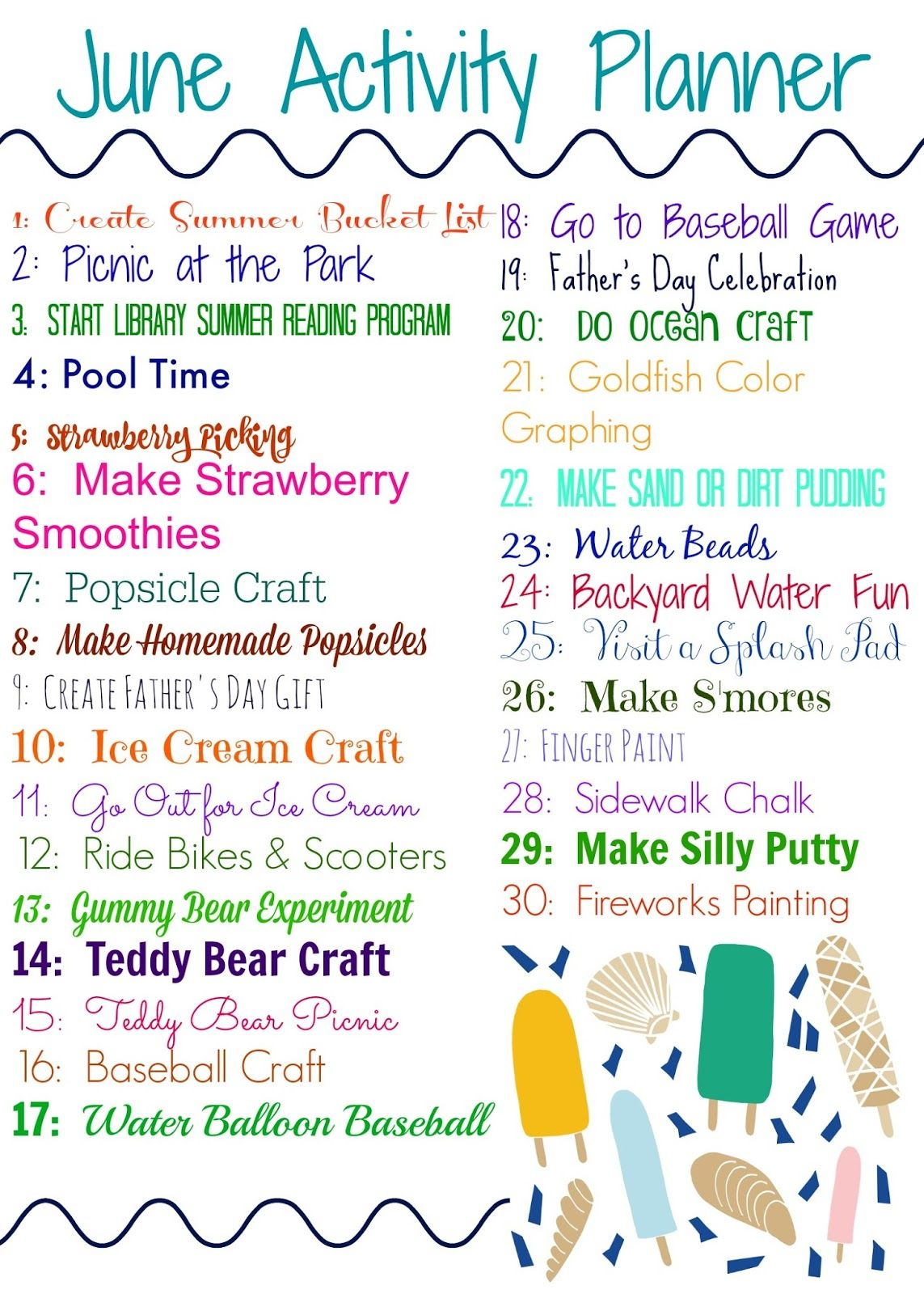 June Activity Planner For Kids Amp Free Printable