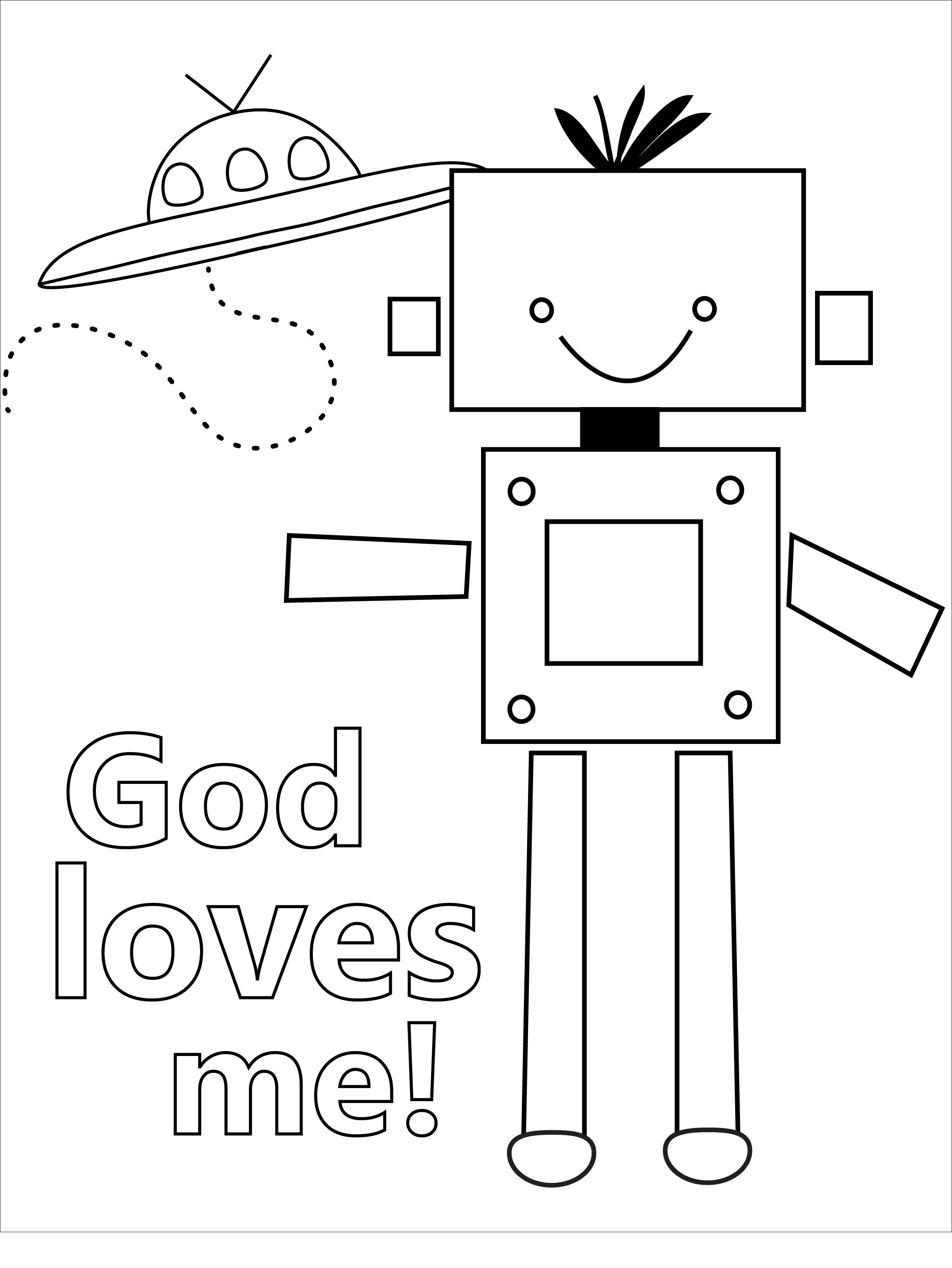 God Loves Me Colouring Page