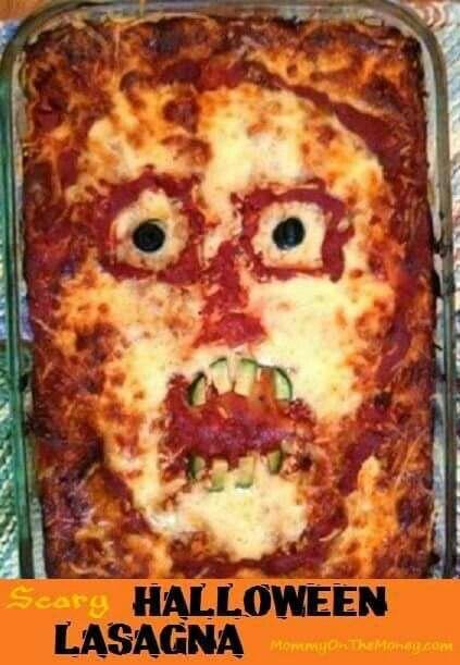 Scary Halloween Lasagna Halloween Food Ideas Pinterest