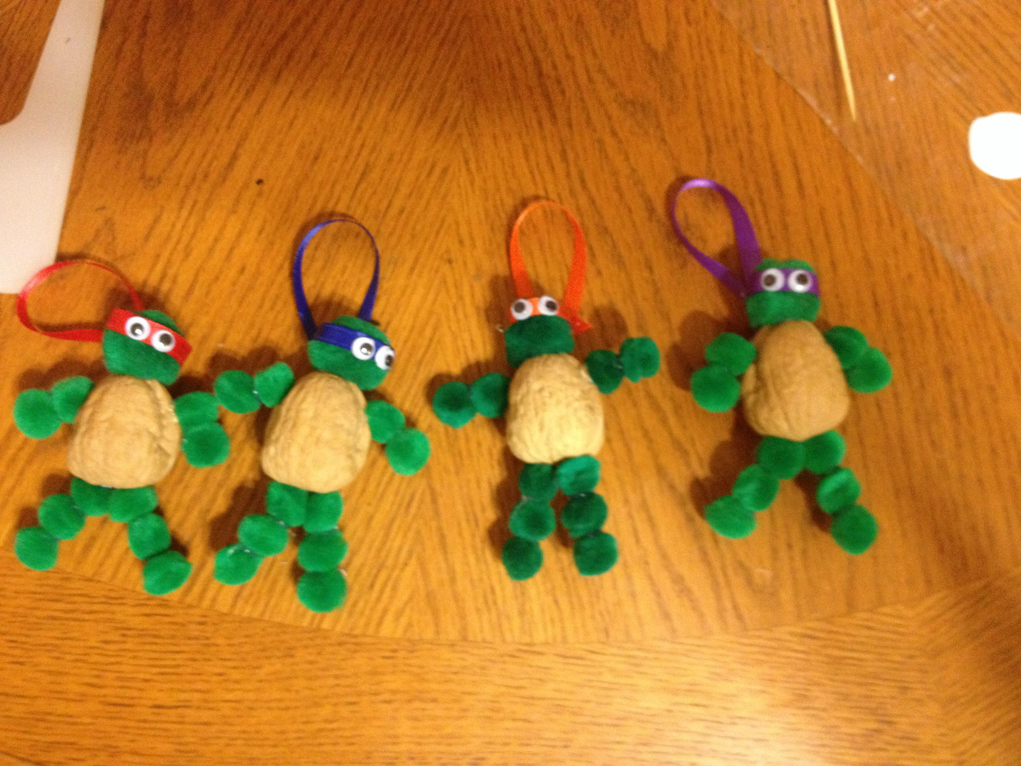 Teenage Mutant Ninja Turtle Ornaments Just Finished Making Requirements Pom Poms Walnuts