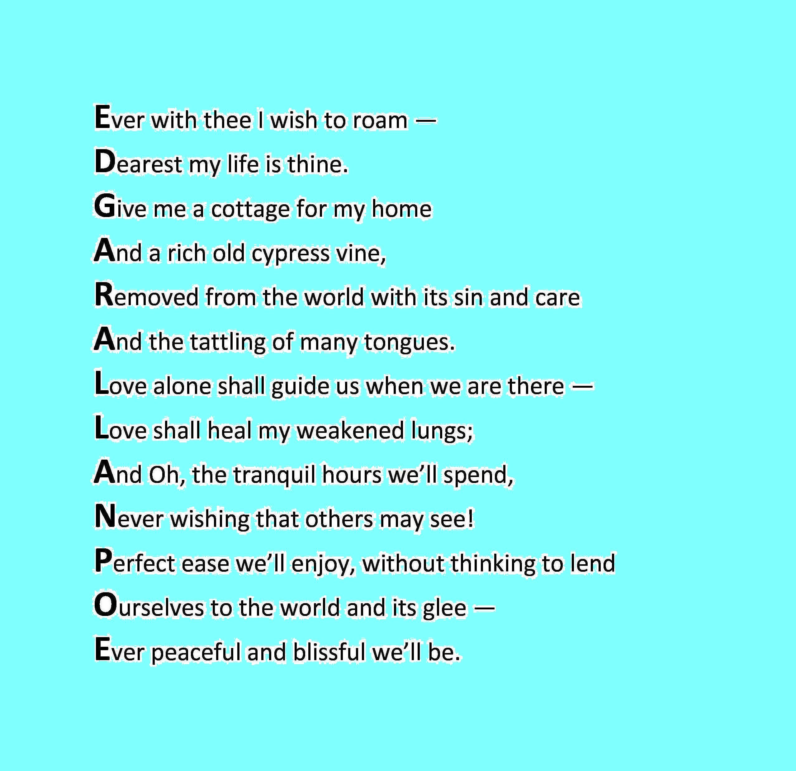 Dated February 14th A Acrostic Poem For Edgar Allan