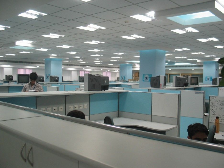 spacious office interior designs finished with white blue on blue office color id=43256