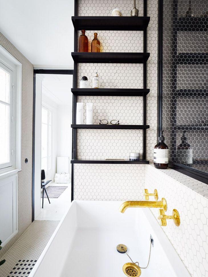 hipster apartments  remodelproj Black white u gold bathroom
