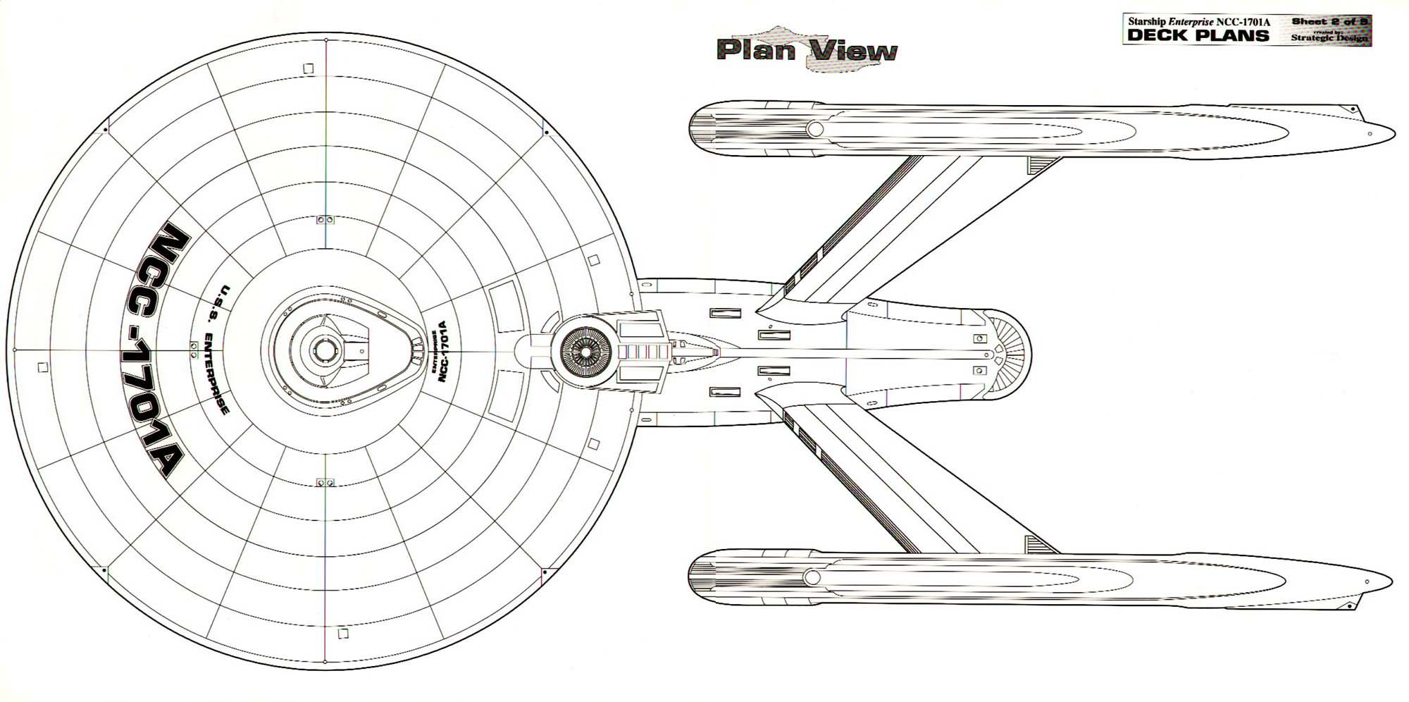 Dorsal Schematic Of U S S Enterprise Ncc A