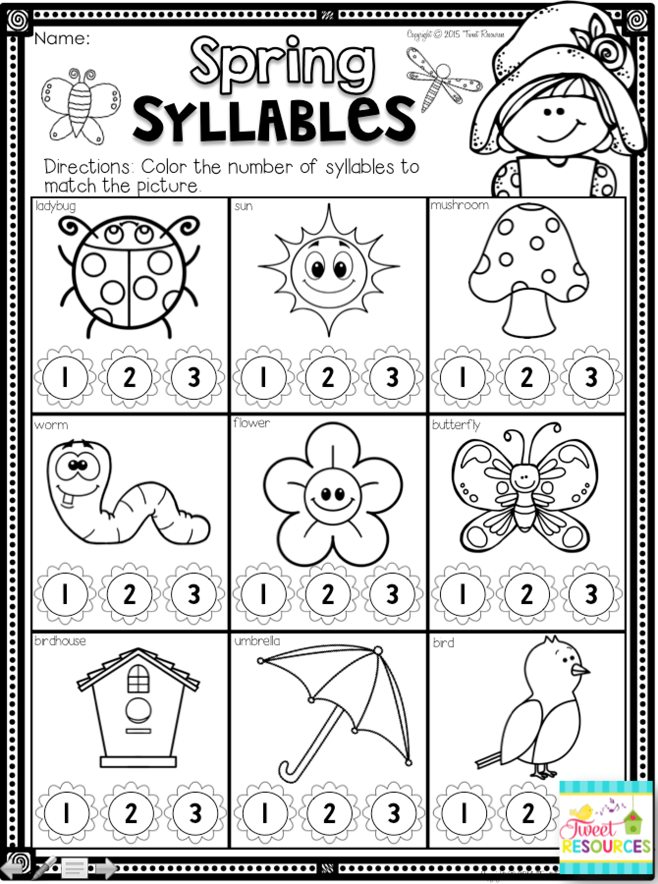 Spring Activities Math And Literacy Printables For