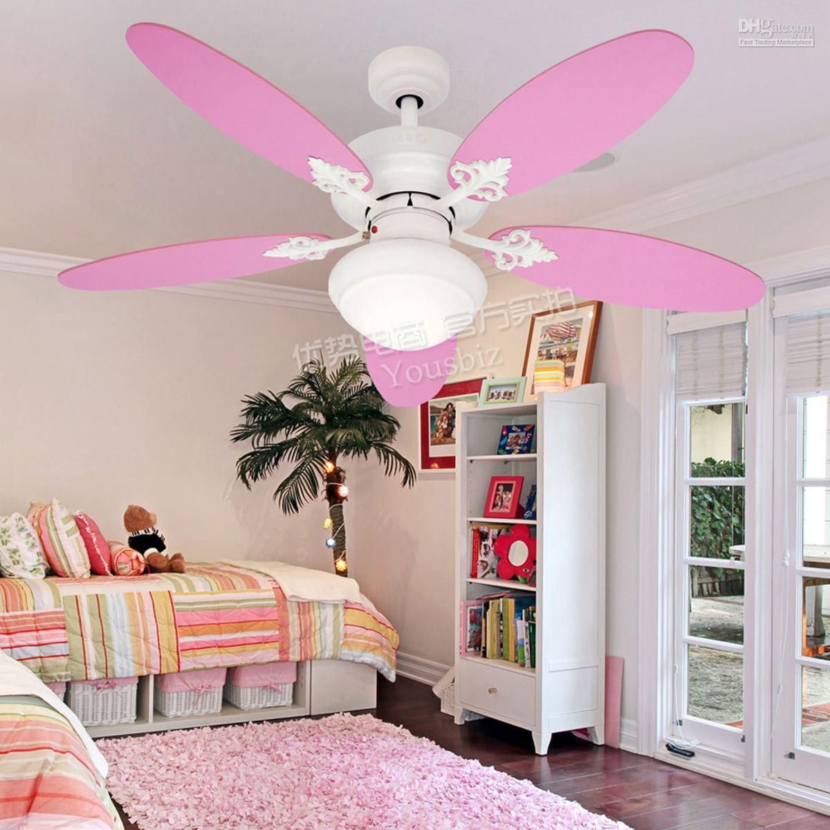 pink ceiling fans with lights for teenage girl bedroom #interior