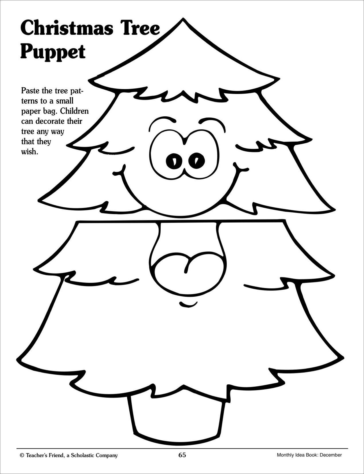 Christmas Tree Paper Bag Puppet Pattern