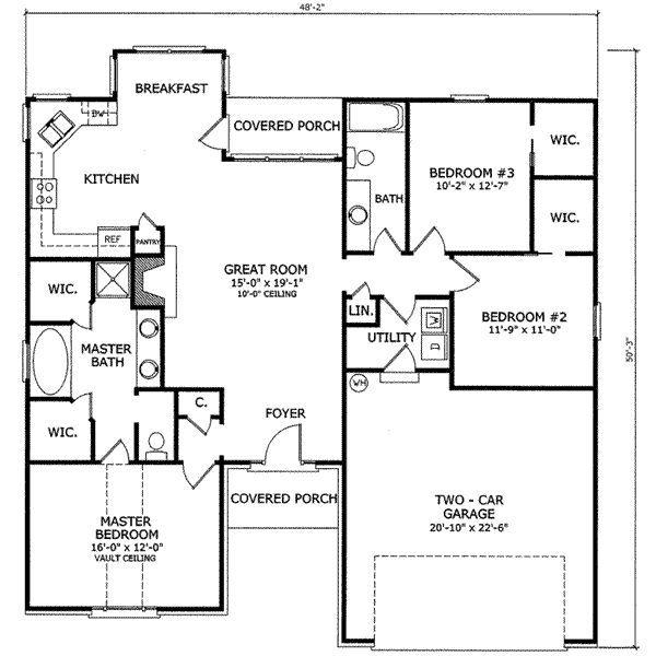 3 bedroom 2 bathroom 1 garage house plans for 1 bedroom house plans with garage