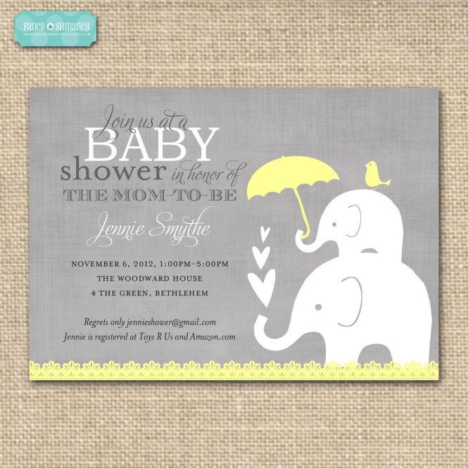 editable baby shower invitation yellow and grey elephant gender