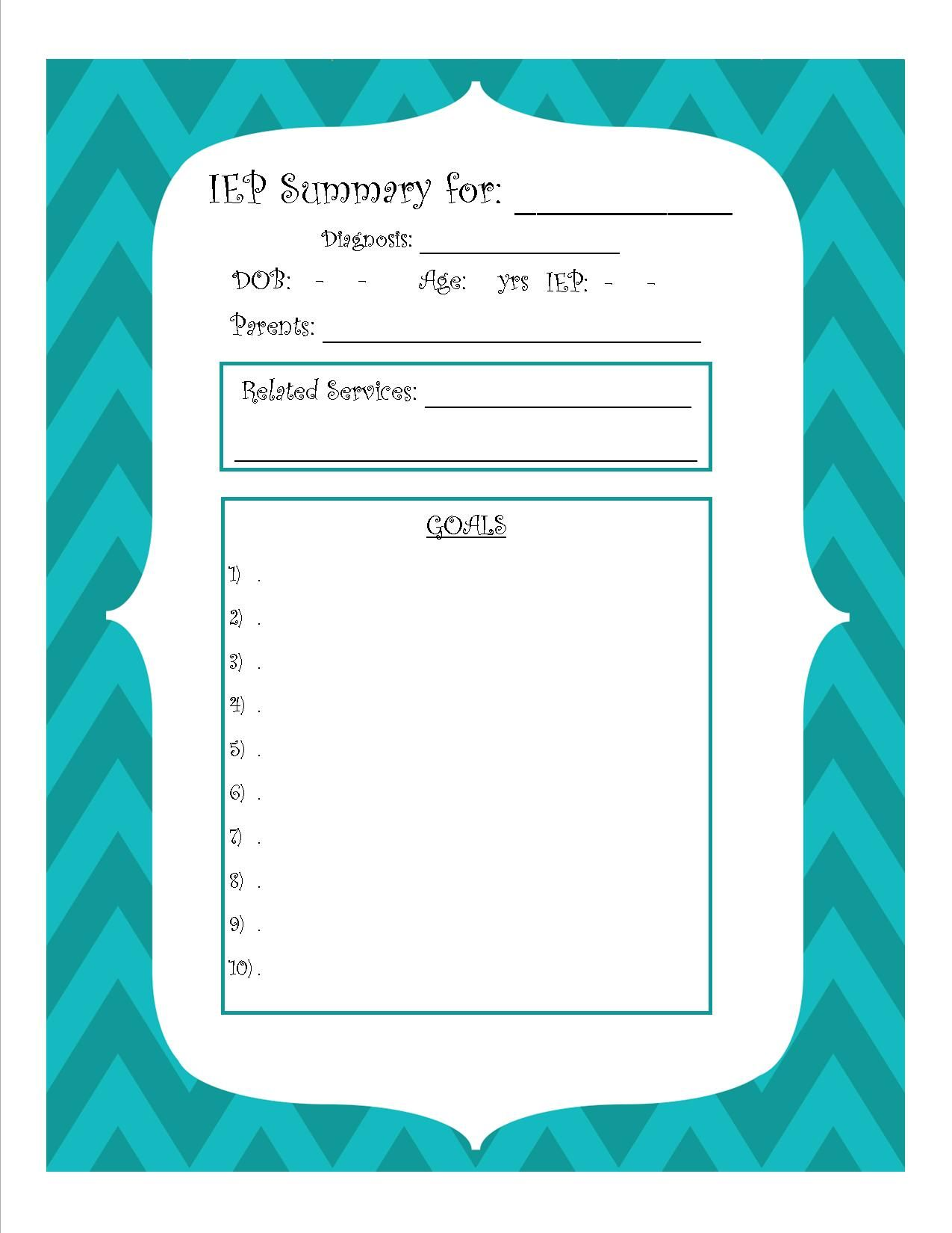 Easy And Simple Free Printable Iep Summary Sheet For Ecse Through High School Sped Students