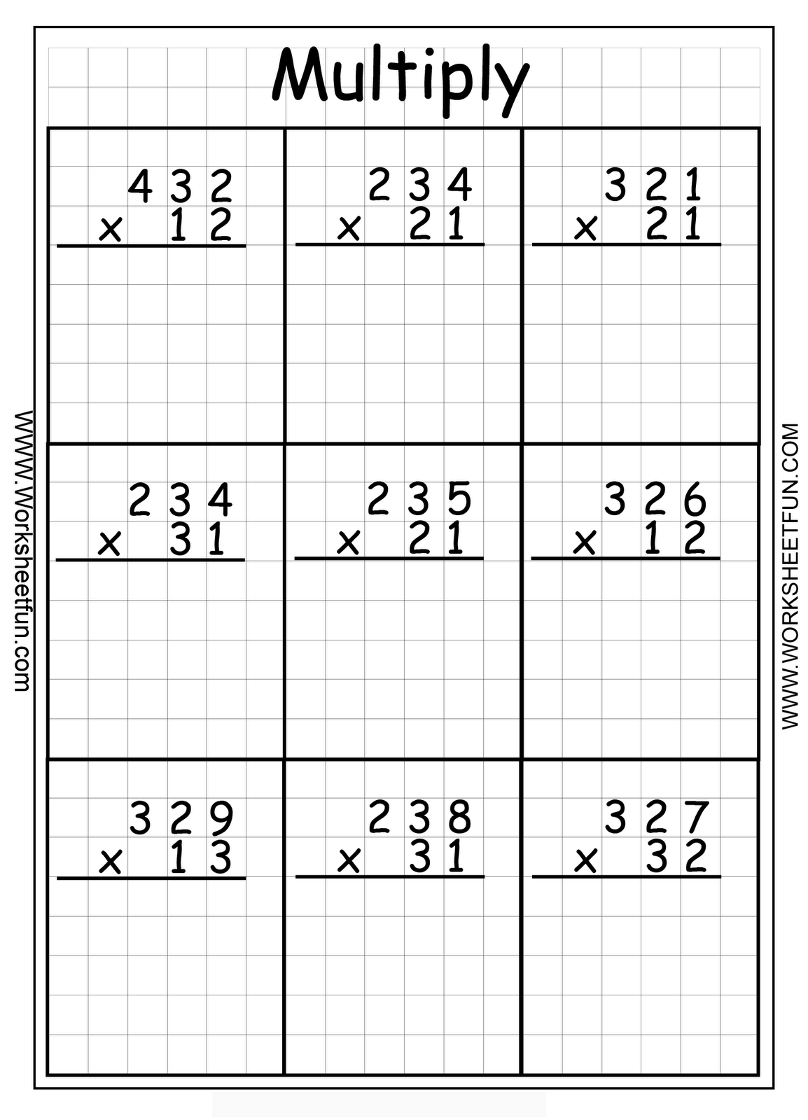1 Digit Multiplication Worksheet Hard