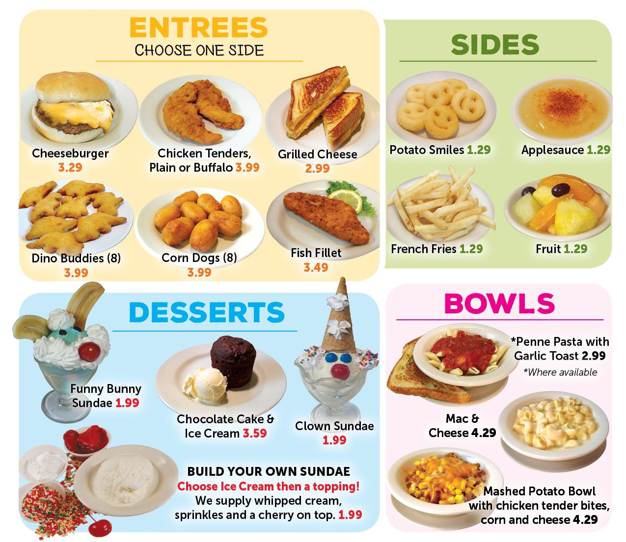 Valley Dairy Restaurants Kids Menu