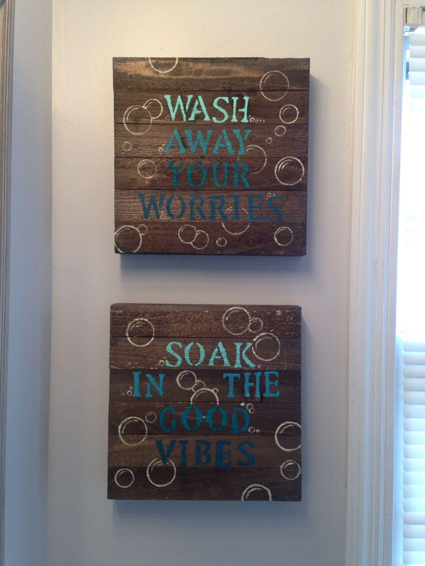 blue diy bathroom wall decor 10 wood canvas from walmart on bathroom wall decor id=17644