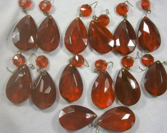 13 Red Teardrop Prisms Chandelier Crystals Two By Eklektibles