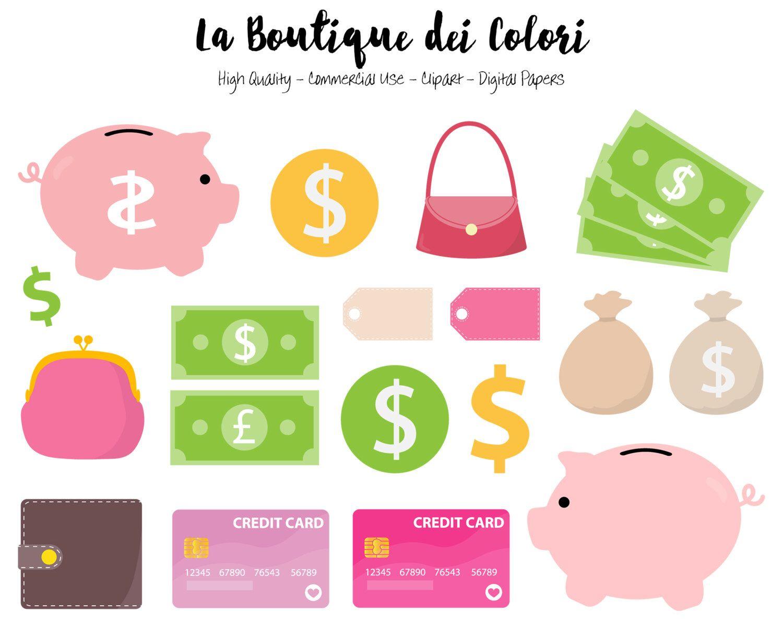 Money Clipart Cute Digital Illustrations Save Up