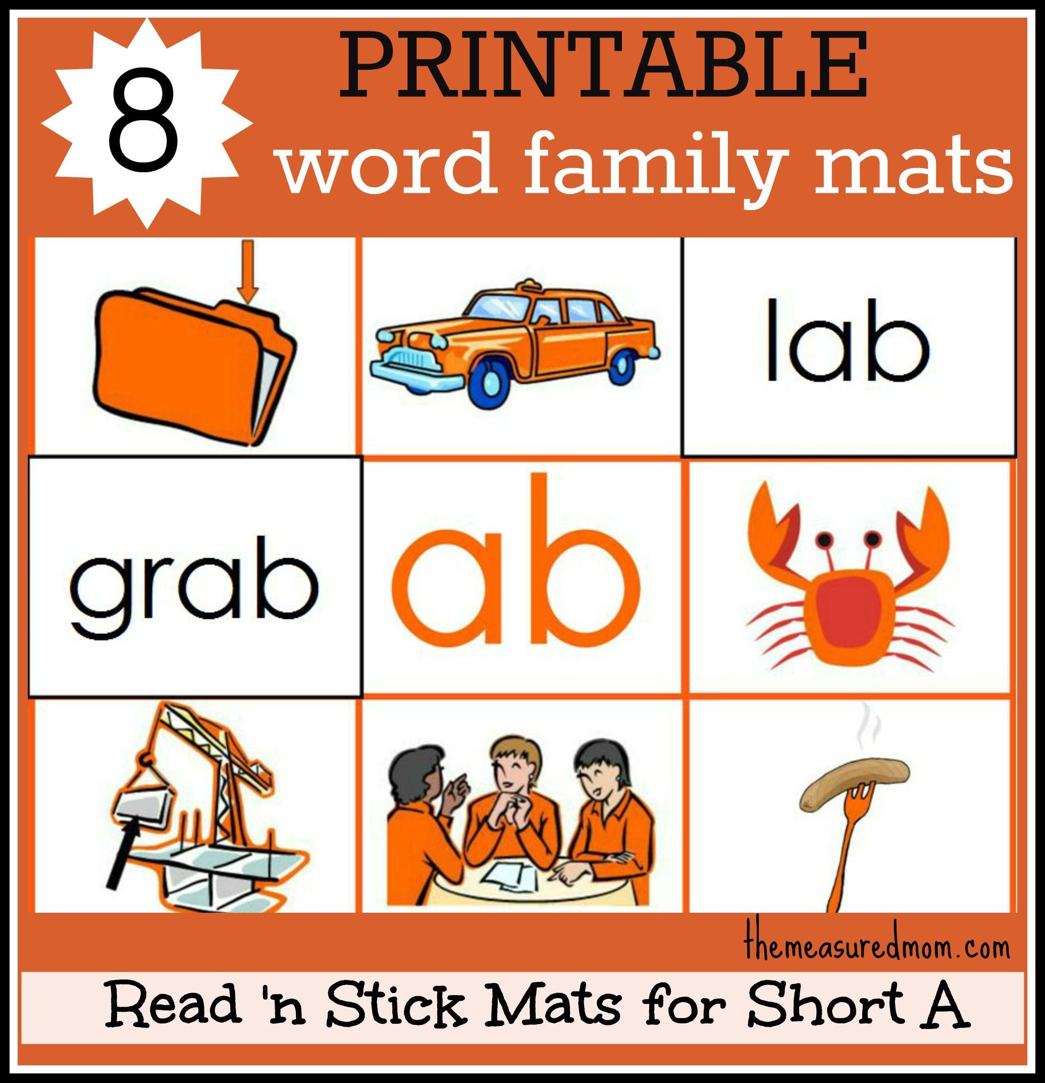 8 Short A Word Family Mats