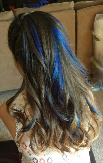 Blue Highlights In Brown Hair Hair Nails And Makeup