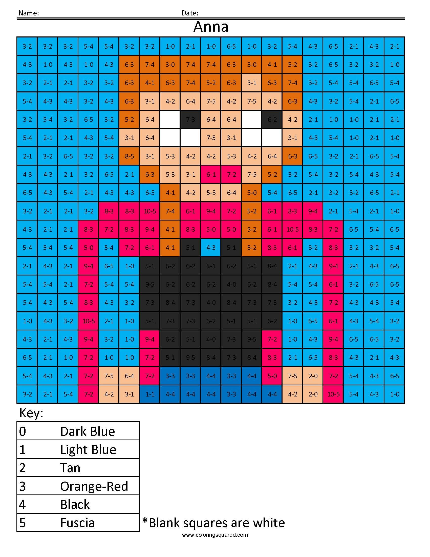 Anna From Frozen Disney Princess Addition And Subtraction