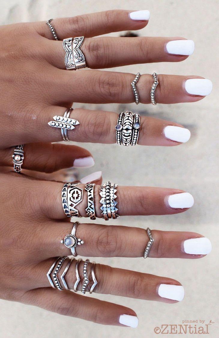 Pretty ringnail combo   Bijoux  Pinterest  Boho diy Nails