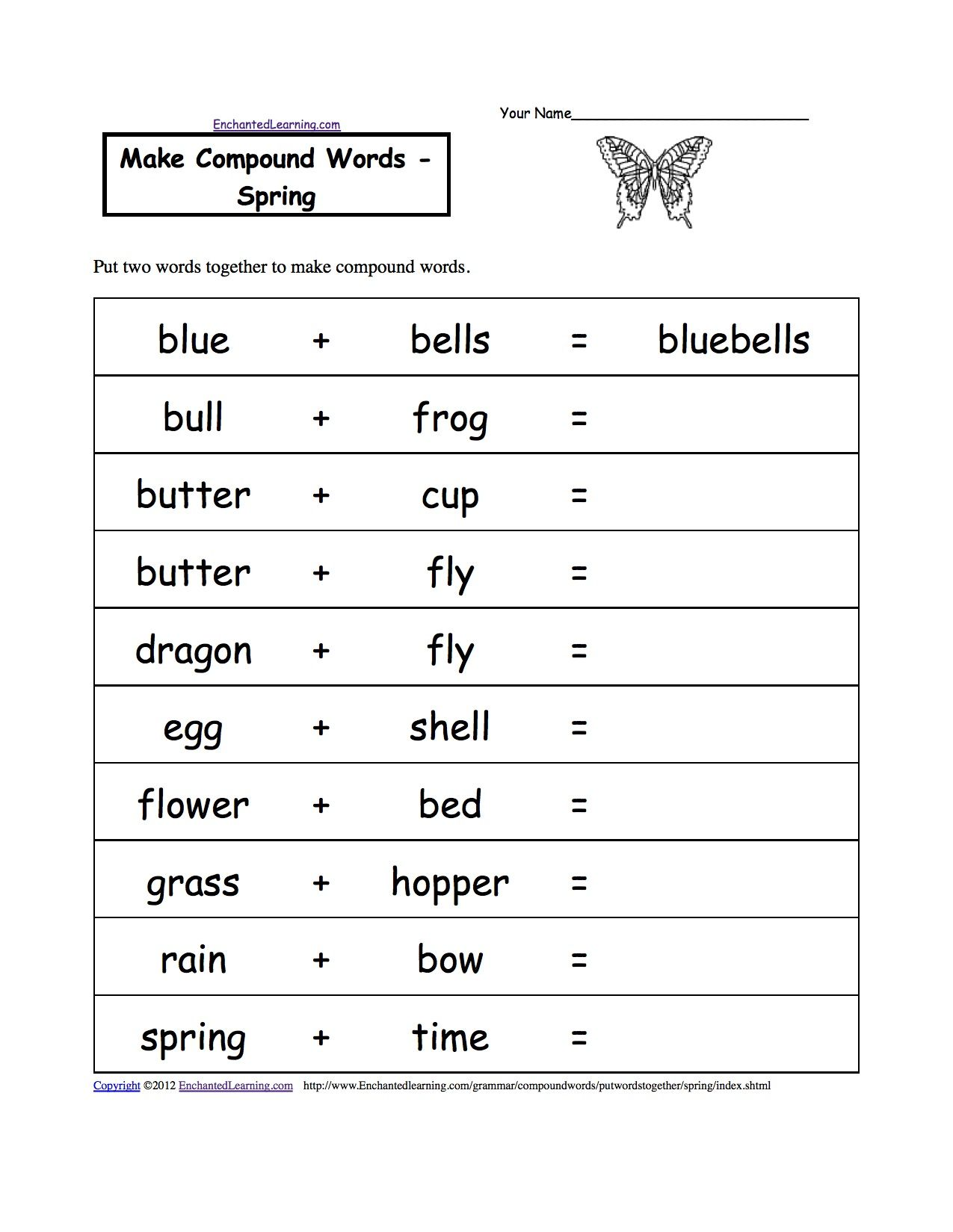 Compound Words Spring