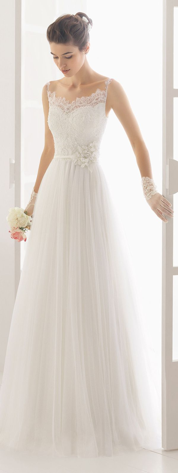 Aire Barcelona charm lace wedding dresses  with thin straps