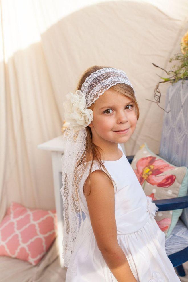 First communion veil headband w handmade flower by