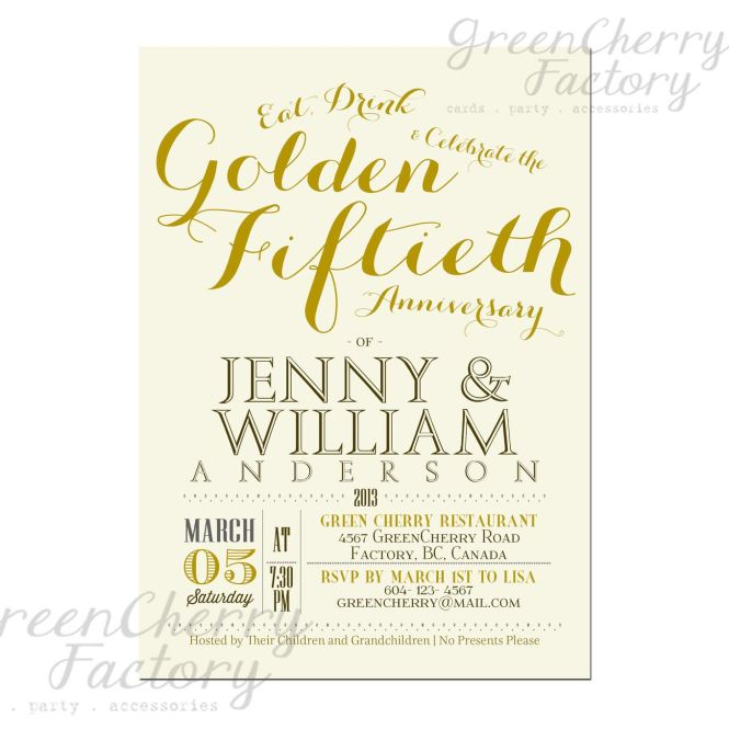 Golden 50th Wedding Anniversary Invitation Idea Font