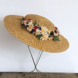 d6b17e97862eb Vintage 1930S Straw Hat 30S Wide Brim Straw Floral By Fanciness
