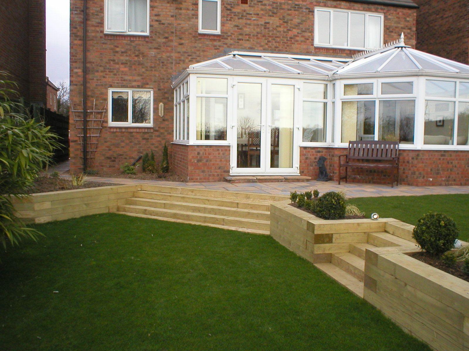 Split level garden in Tollerton, York, using sleepers ... on Split Garden Ideas id=31942