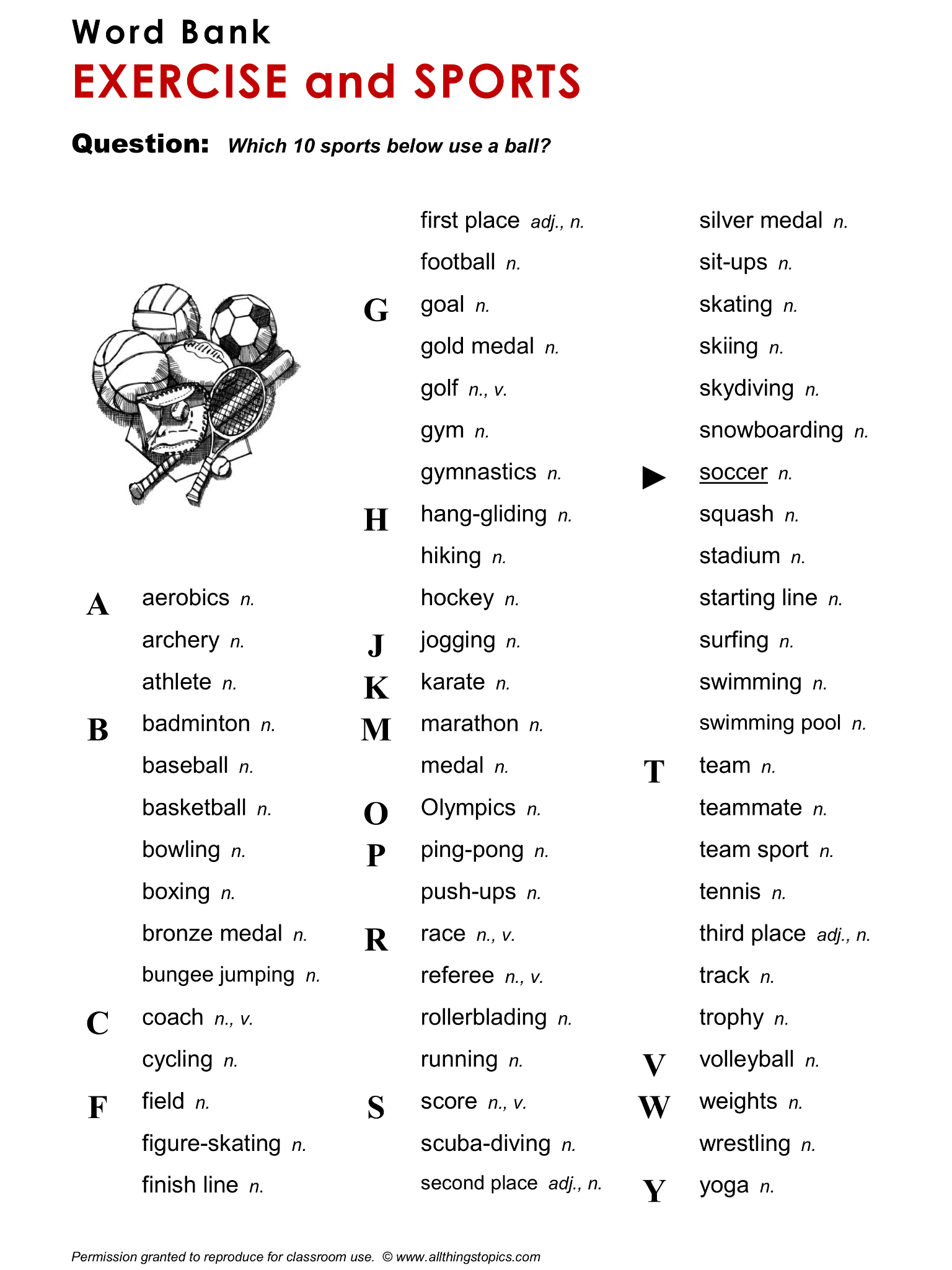 Word Bank Exercise And Sports Supplementary Vocabulary
